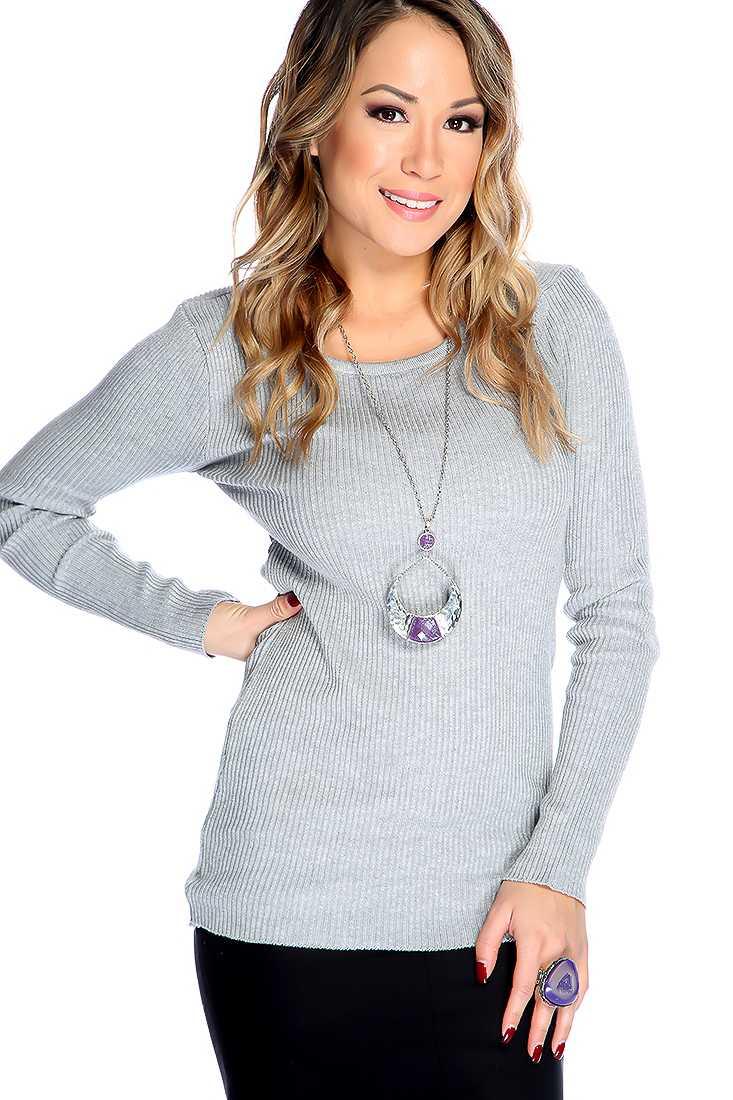 Grey Long Sleeves Round Neckline Sweater