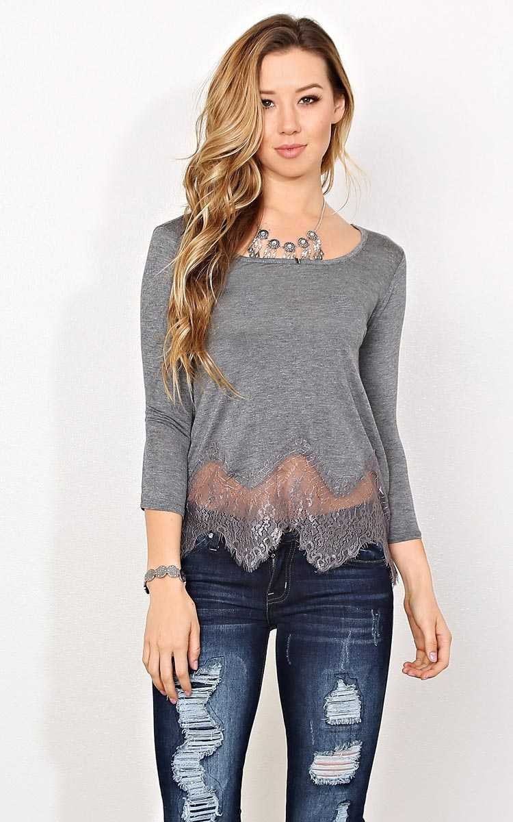 Charcoal Lace Trim Boxy Knit Top - SML - Charcoal in Size Small by Styles For Less
