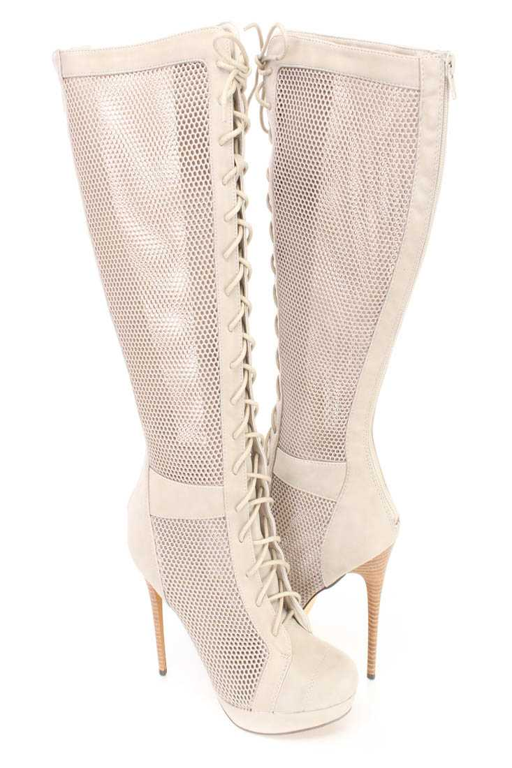Grey Netted Lace Up High Heel Boots Faux Leather