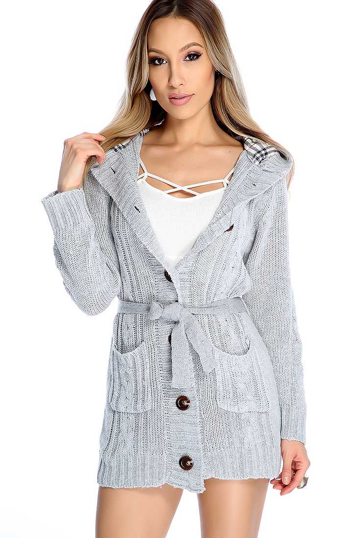 Stylish Grey Long Sleeve Button Up Sweater