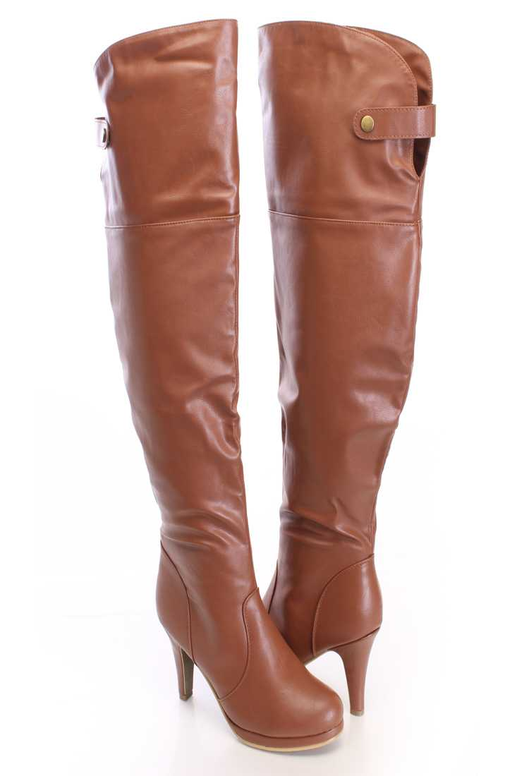 Tan Thigh High Boots Faux Leather