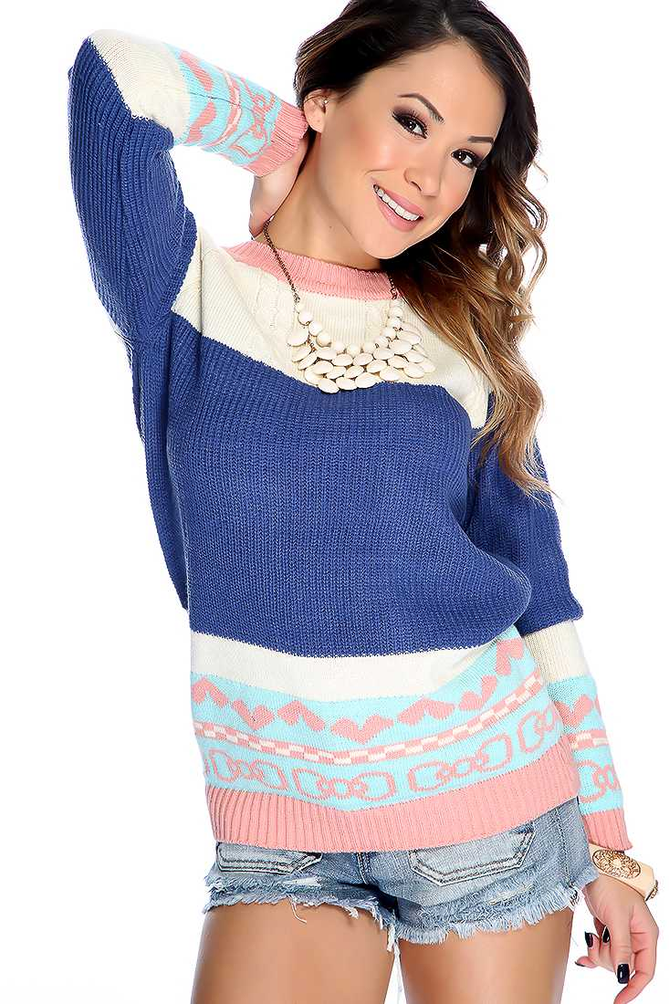 Royal Blue Long Sleeve Knit Design Casual Fall Sweater