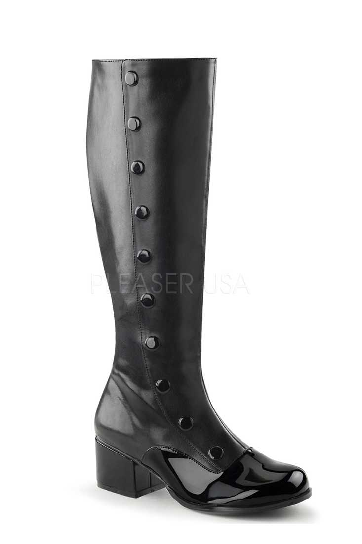 Black Button Detailed Knee High Boots Faux Leather