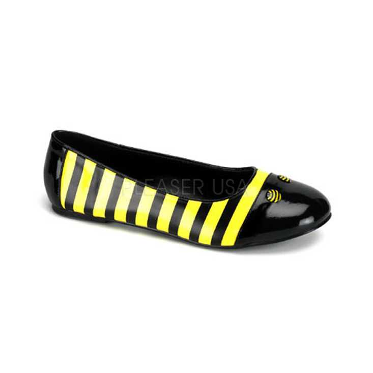 Black Yellow Two Tone Striped Bumble Bee Flats