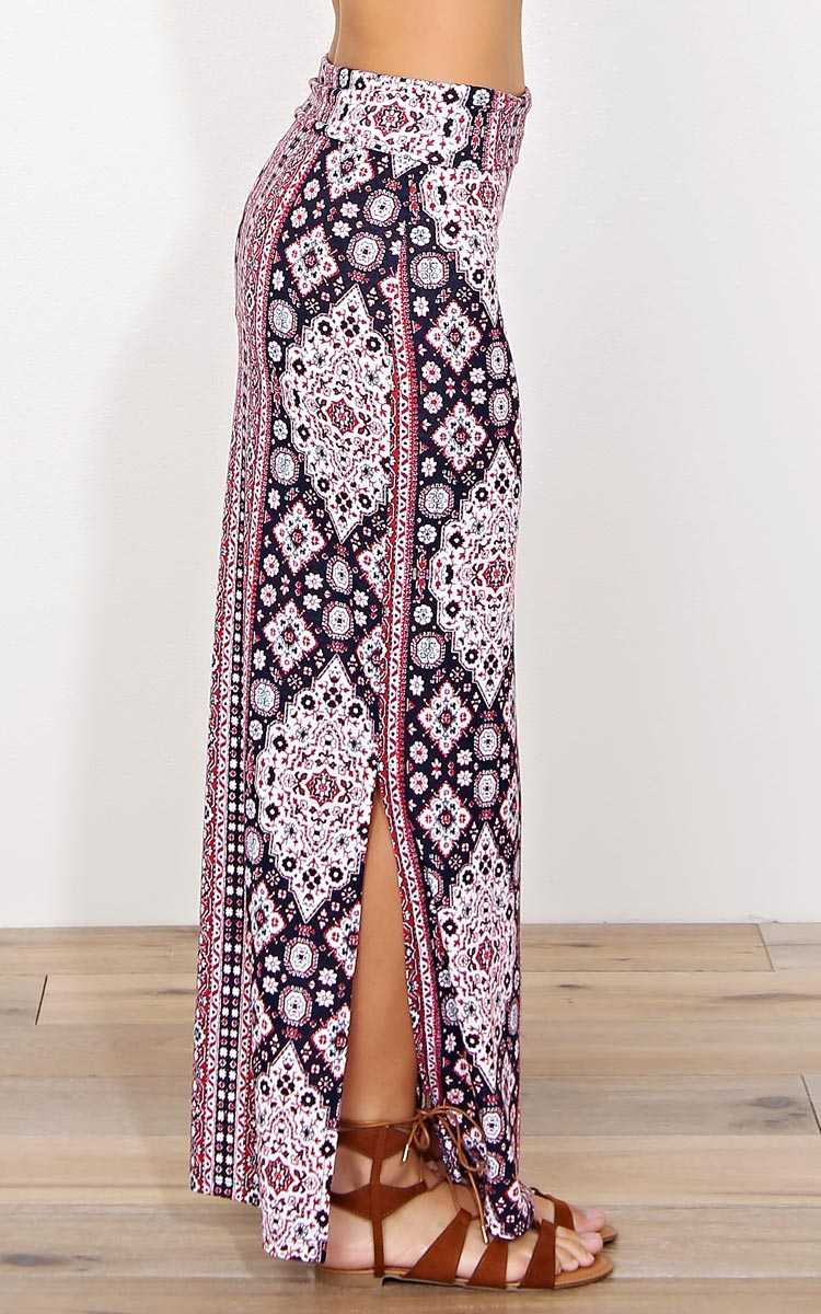 Something New Knit Maxi Skirt - - Red Combo in Size by Styles For Less