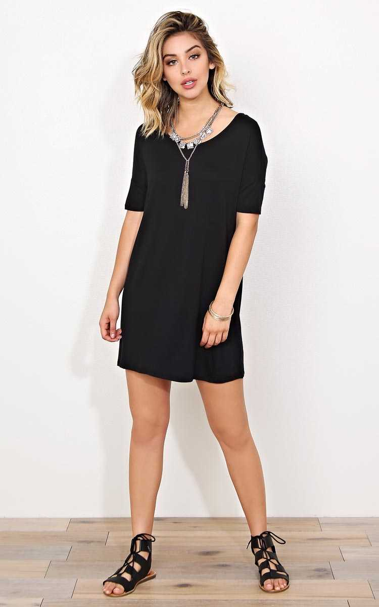 Black Carter Knit T Shirt Dress - SML - Black in Size Small by Styles For Less