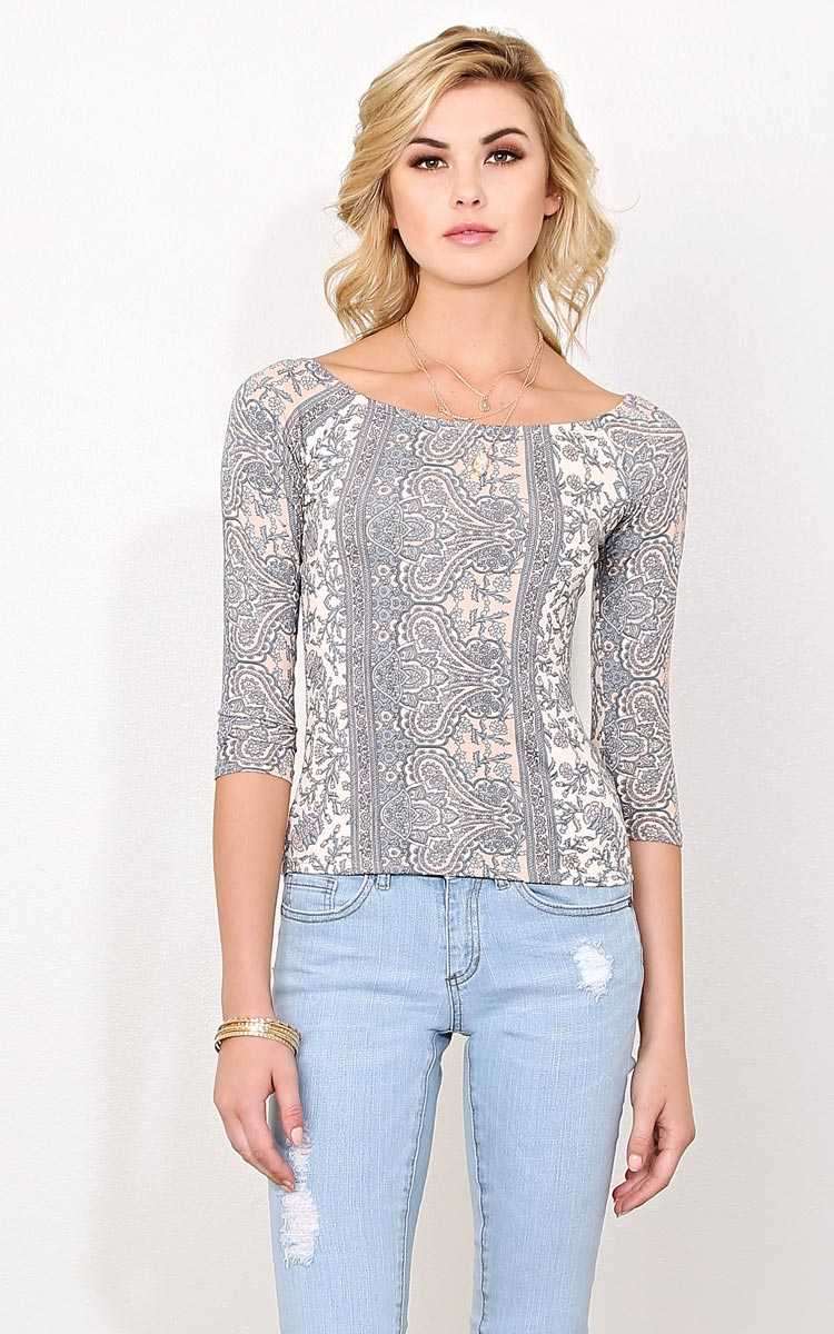 Festival Soul Knit Top - - Blush Combo in Size by Styles For Less