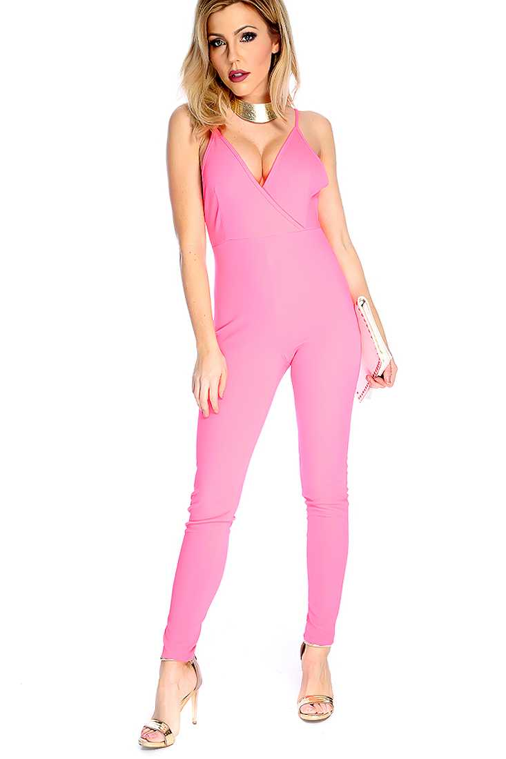 Sexy Neon Pink Sleeveless V Neck Strappy Back Jumpsuit