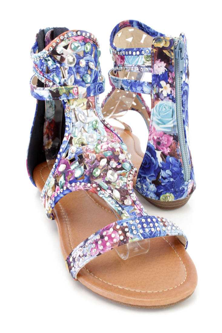 Blue Floral Print Rhinestone Strappy Sandals Fabric