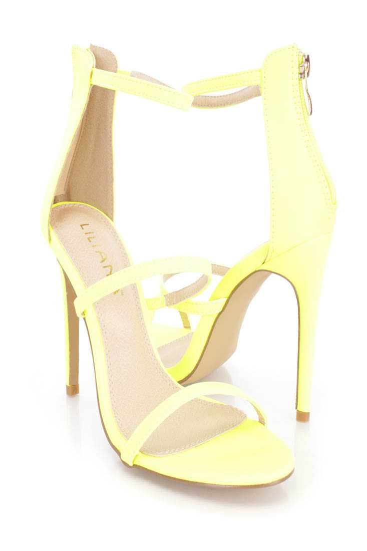 Neon Yellow Strappy Single Sole Sandal High Heels Faux Leather