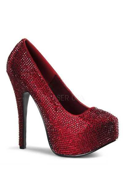 Ruby Red Satin Rhinestone Platform Pump High Heels