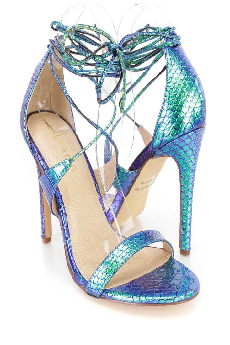 Green Hologram Lace Up Open Toe Single Sole High Heels Faux Leather