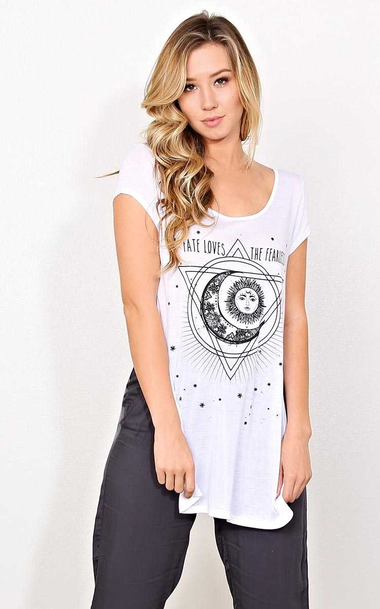 FATE LOVES THE FEARLESS Knit Top - - White Combo in Size by Styles For Less