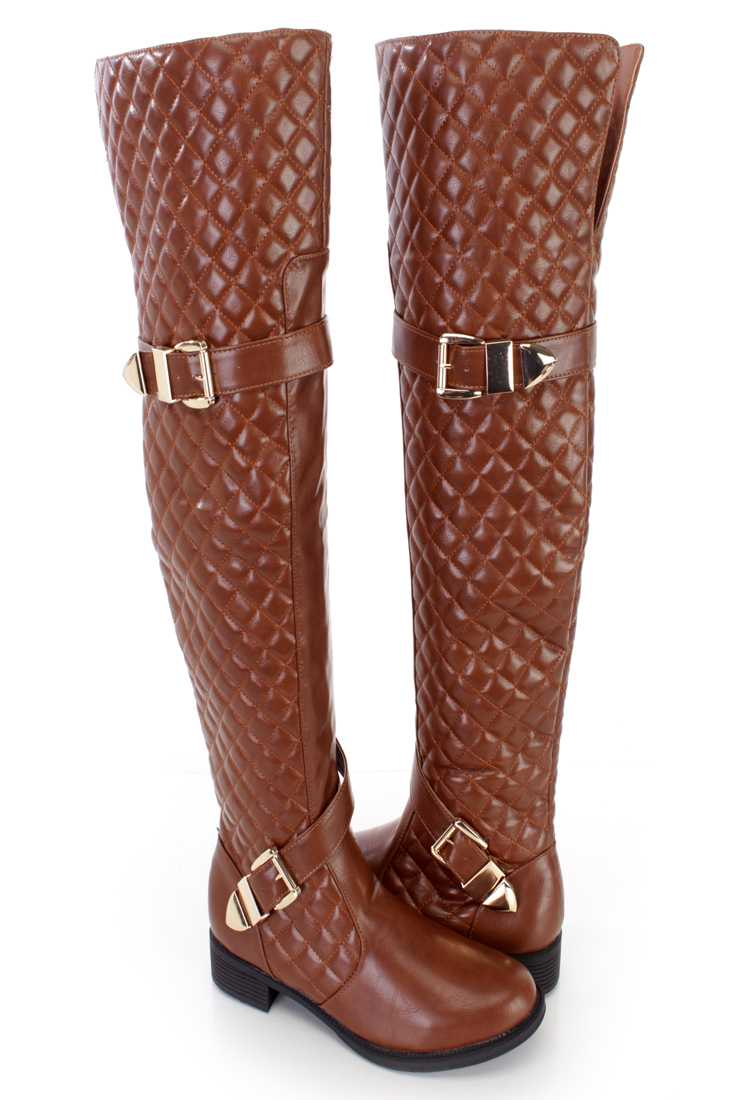 Cognac Quilted Thigh High Riding Boots Faux Leather