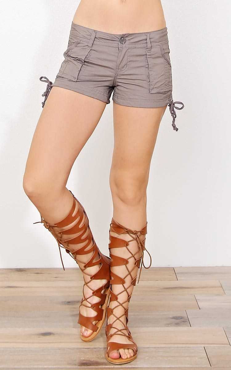 Kelsey Woven Shorts - Khaki in Size by Styles For Less
