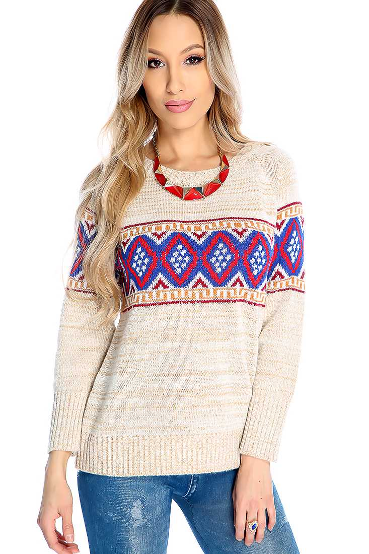 Beige Knitted Design Sweater Top