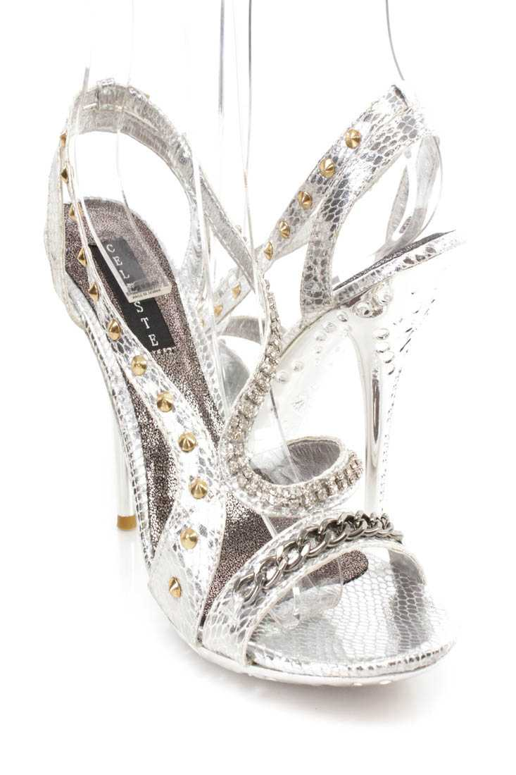 Silver Rhinestone Strappy High Heels Faux Leather