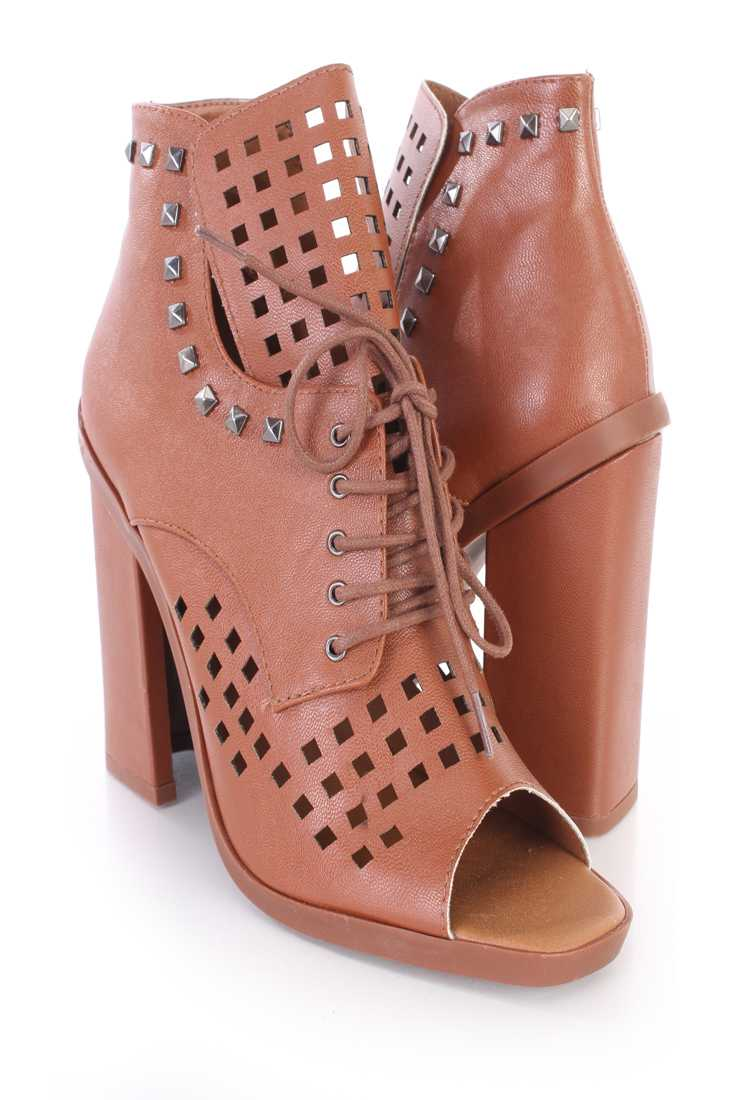 Light Brown Perforated Studded Single Sole Booties Faux Leather