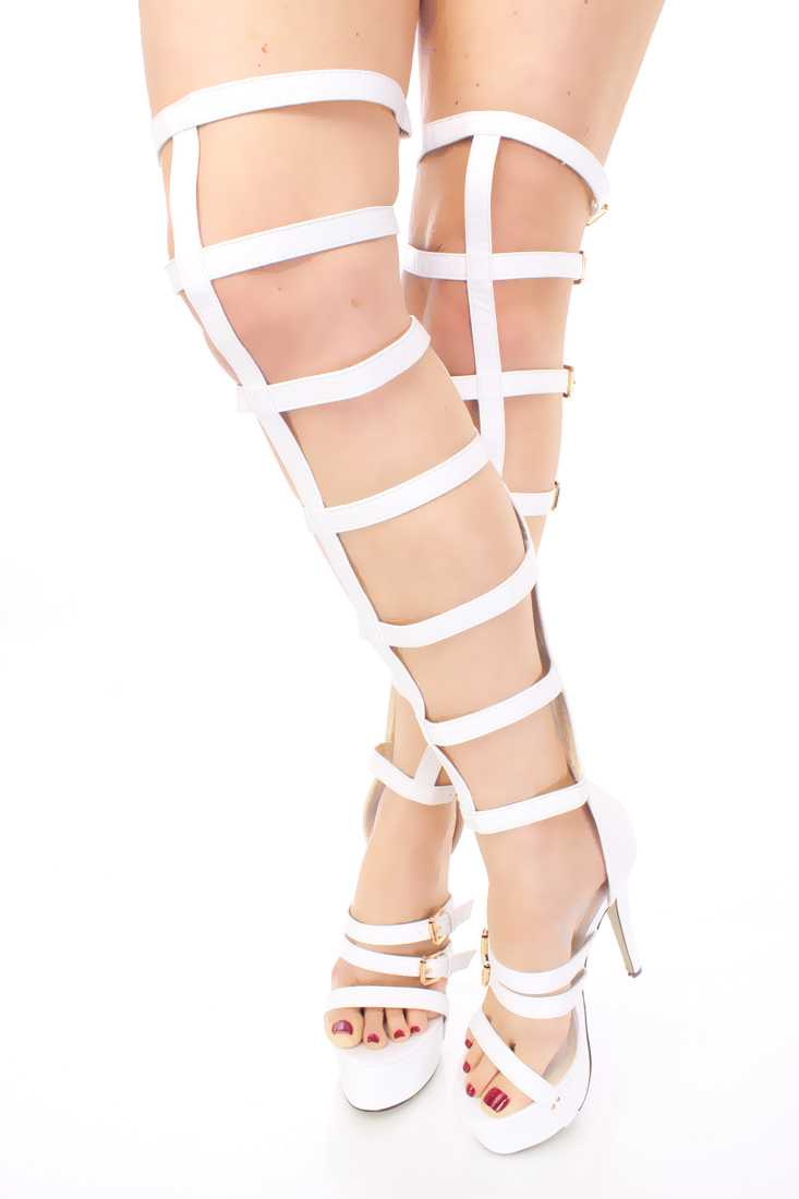 White Gladiator Platform High Heels Faux Leather