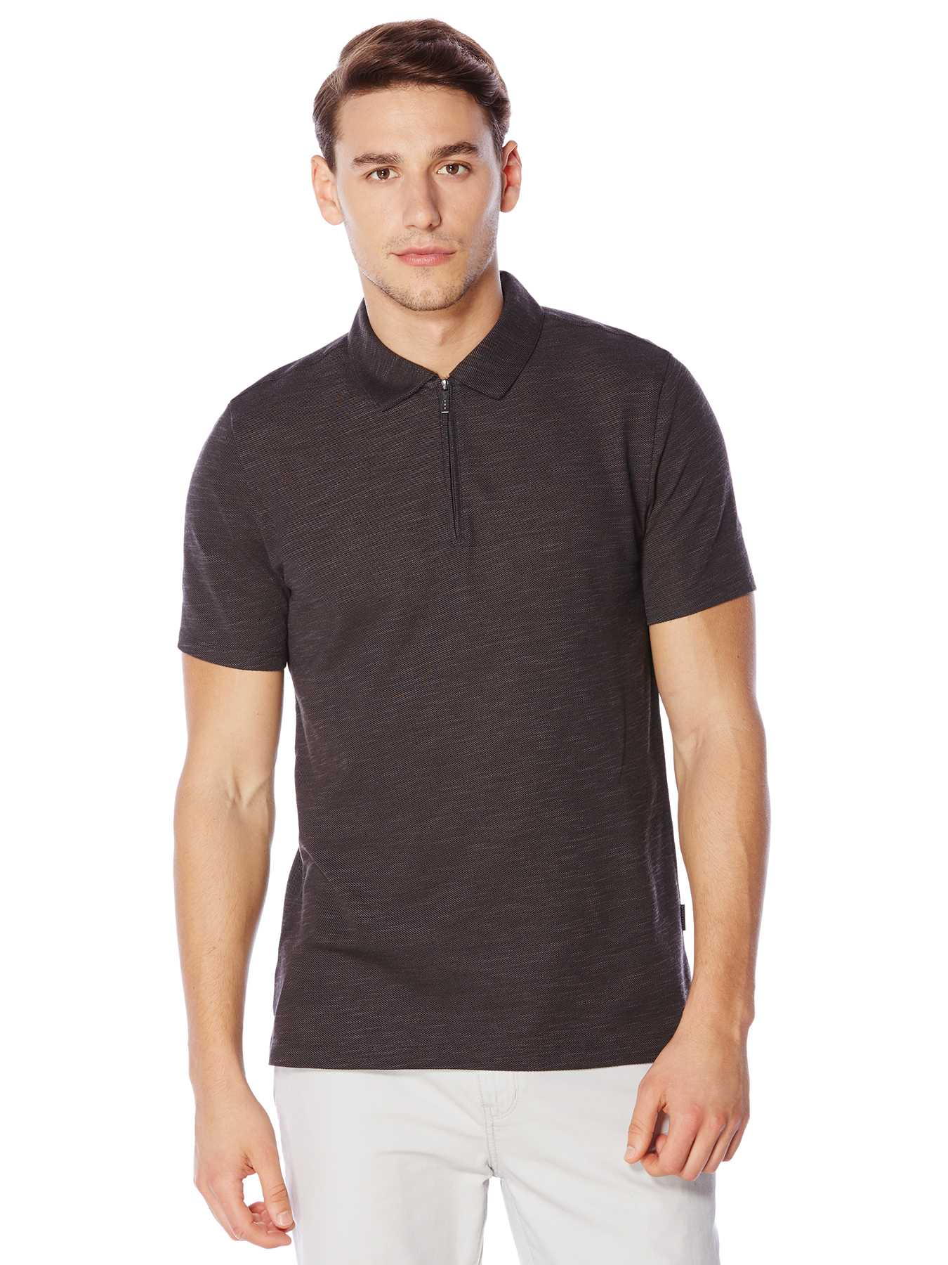 Perry Ellis Short Sleeve Zip Collar Polo