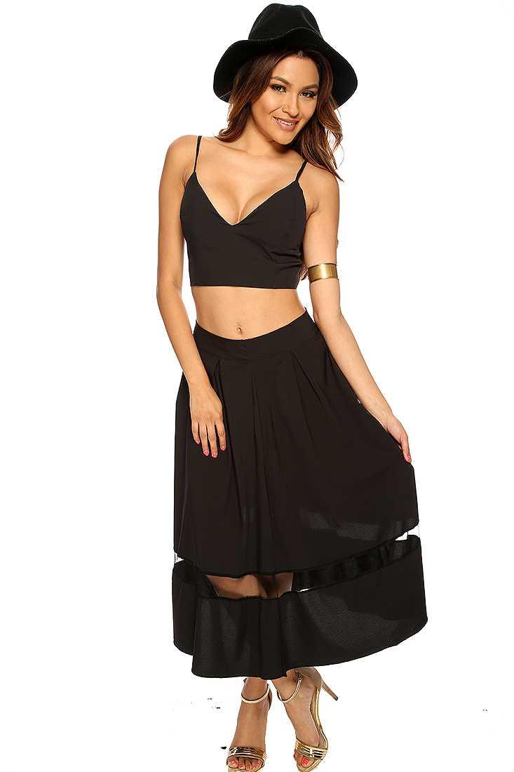 Black Cropped Sheer Striped Sexy Midi 2 Piece Dress