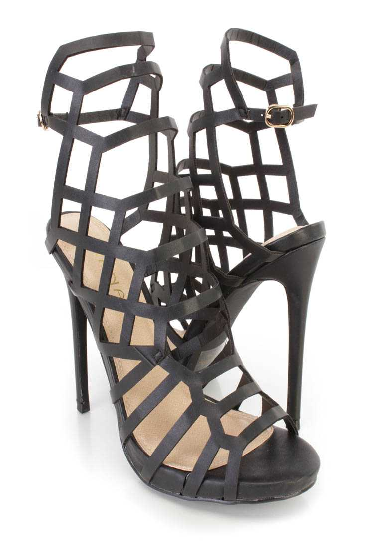 Black Strappy Cut Out Single Sole High Heels Faux Leather