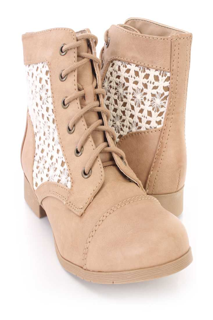 Taupe Closed Toe Crochet Detailing Lace Up Boots Faux Leather