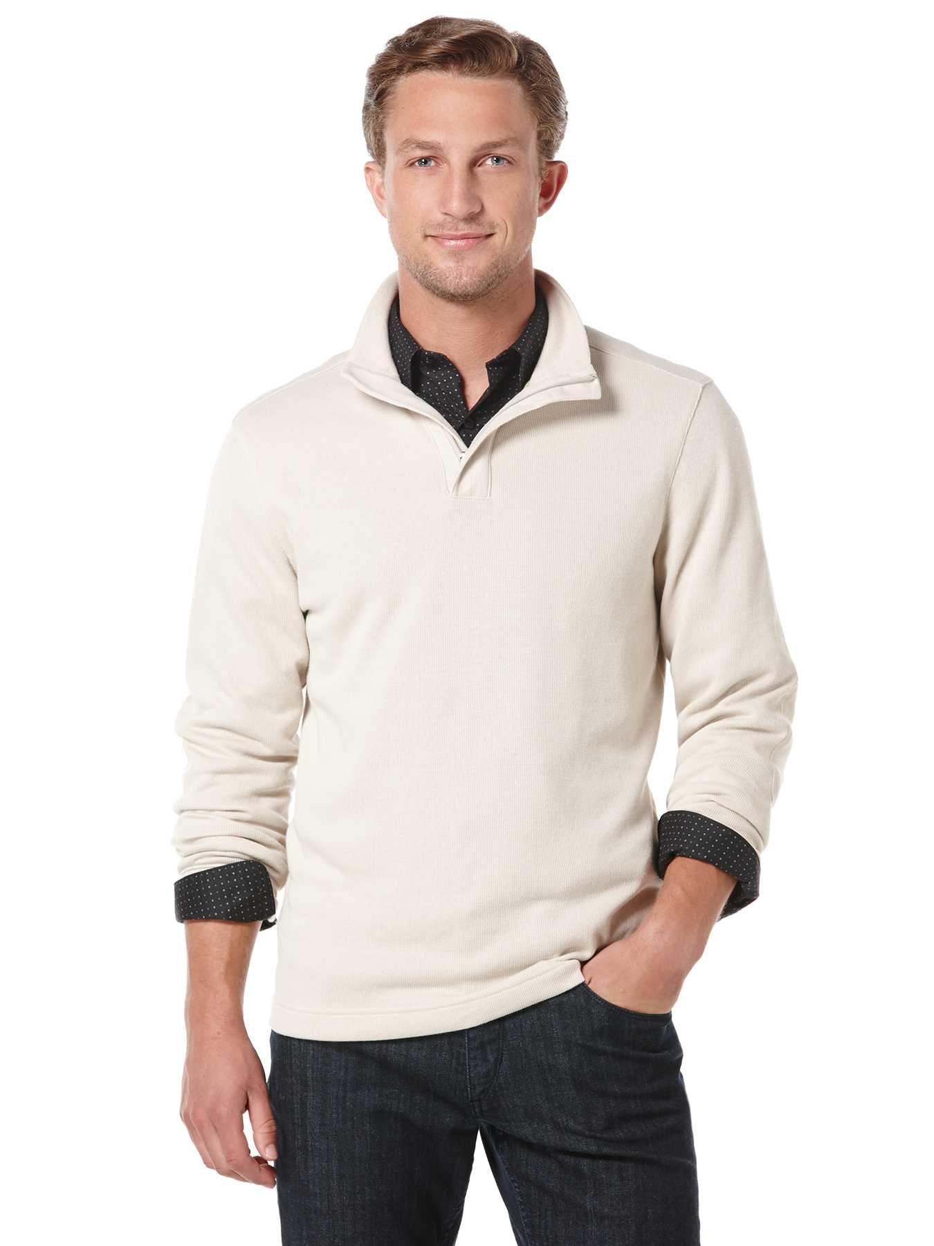 Perry Ellis Long Sleeve Quarter Zip Ribbed Knit