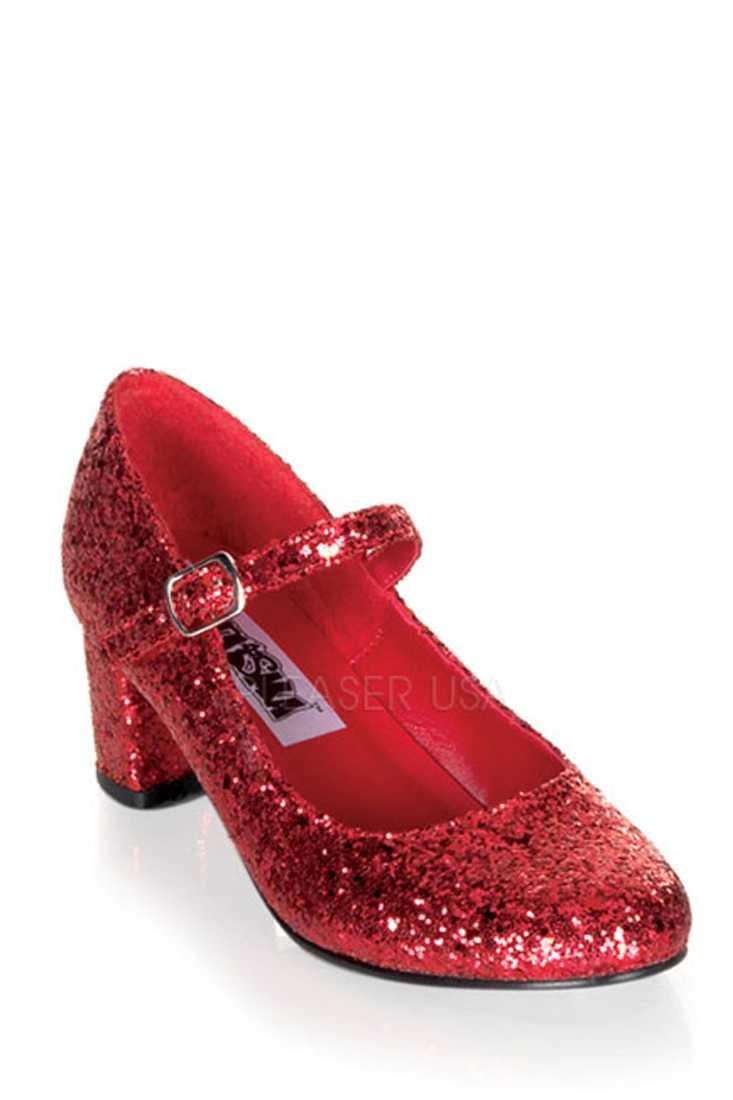 Red Maryjane Chunky High Heels Glitter