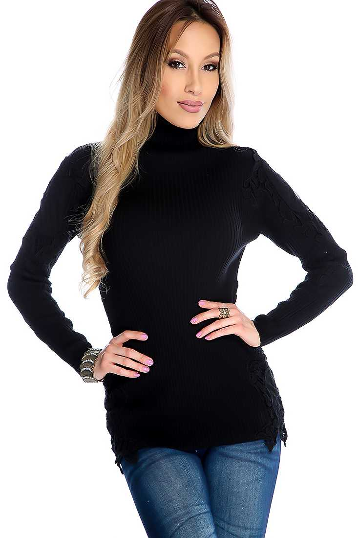 Black Long Sleeve Crochet Trim Turtle Neck Casual Top