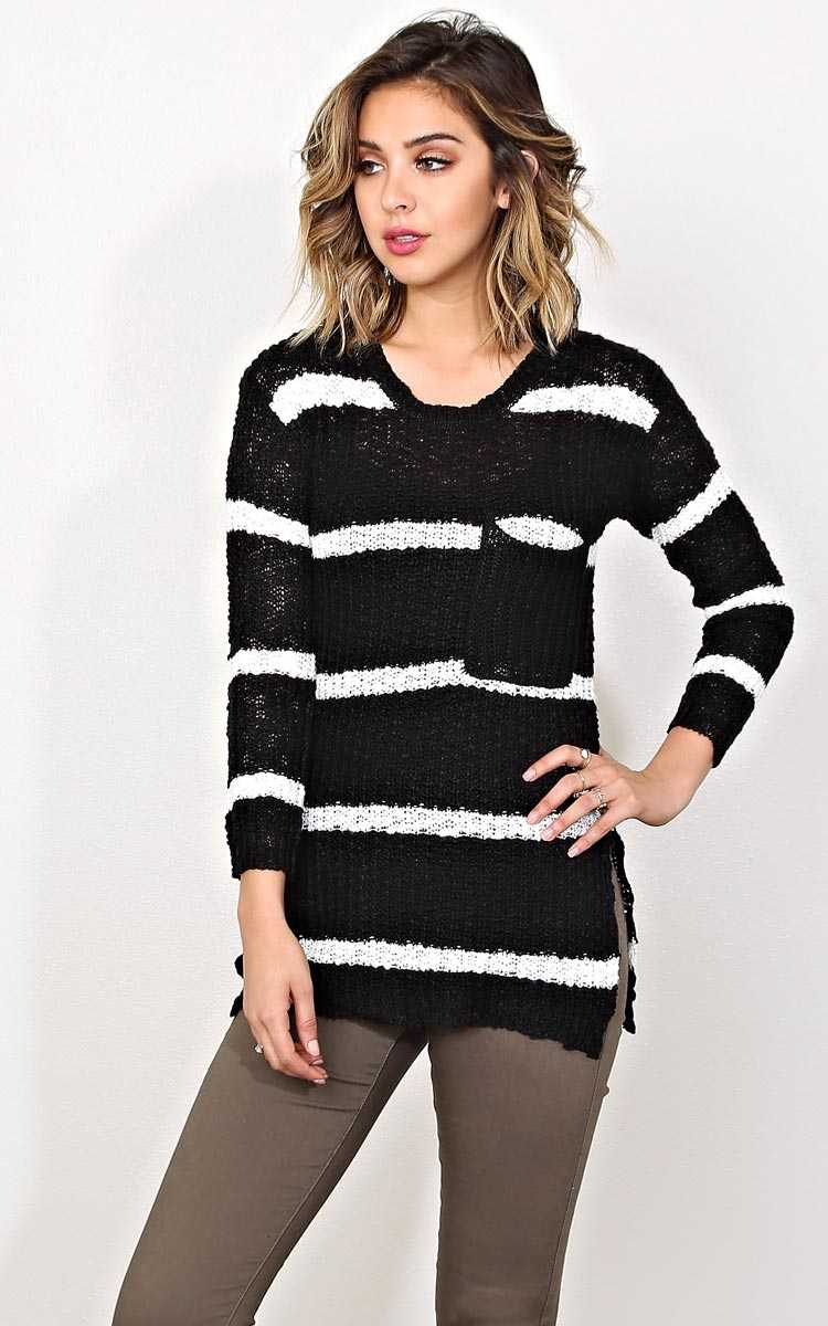 Chilling Stripes Slub Knit Sweater - LGE - Black/White in Size Large by Styles For Less
