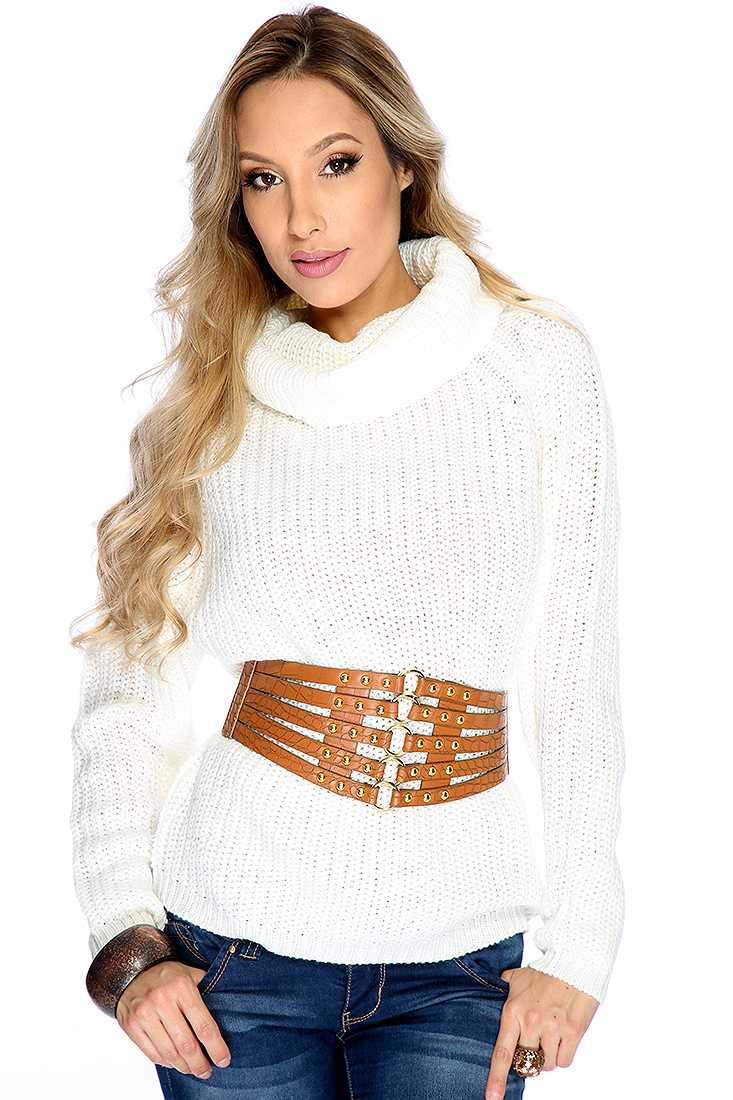 White Knitted Turtle Neck Long Sleeve Sweater Top