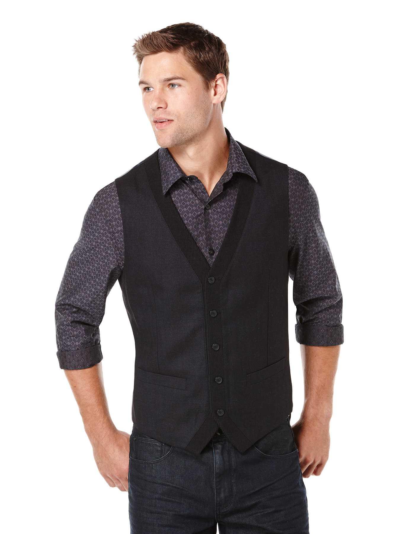 Perry Ellis Textured 5 Button Party Vest