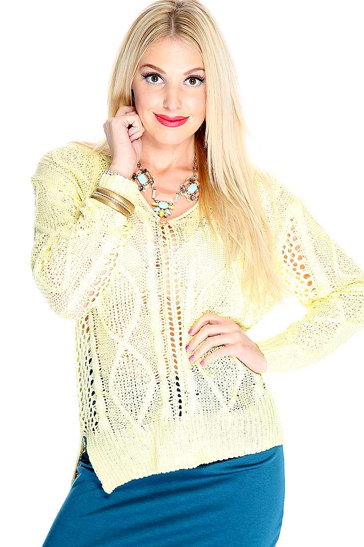 Baby Yellow Open Knitted High Low Sweater Top