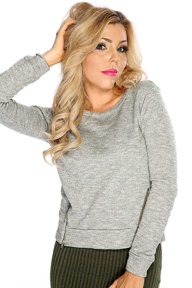 Cute Olive Long Sleeve Zipper Accent Causal Sweater
