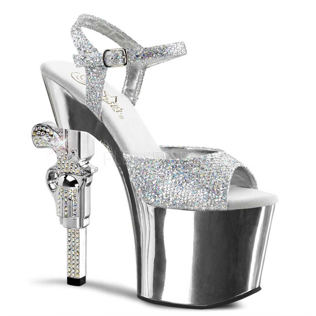 Silver Strappy Rhinestone Embellished Gun Heels Glitter