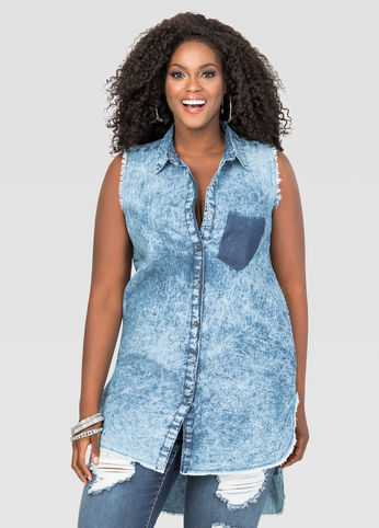 Acid Wash Hi-Lo Denim Tunic