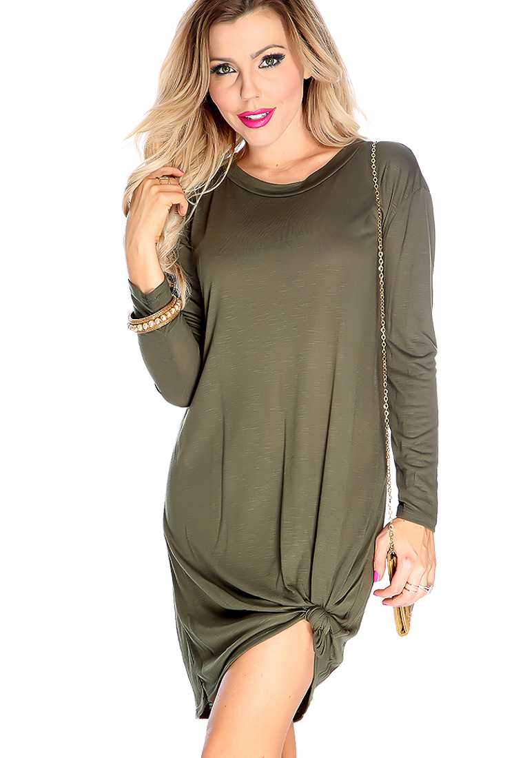 Sexy Olive Long Sleeve Round Neck Dress