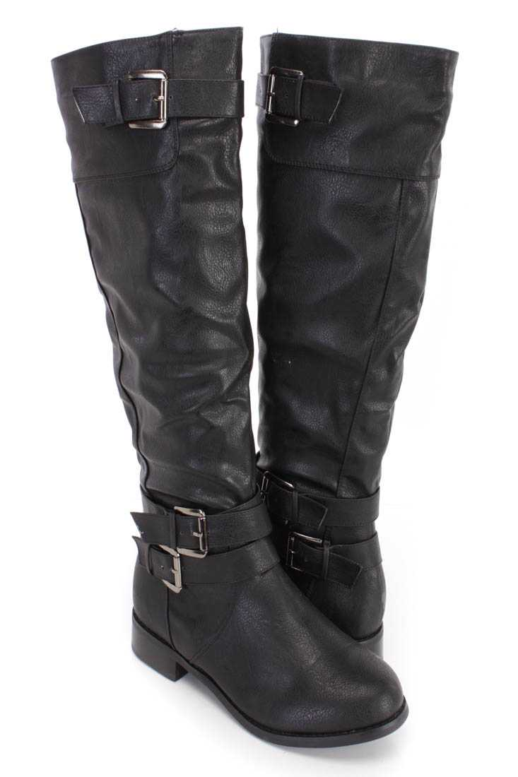 Black Strappy Knee High Boots Faux Leather