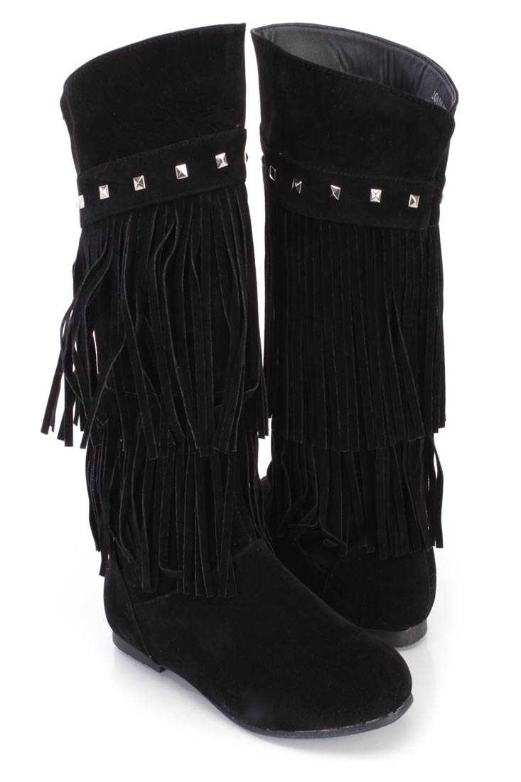 Black Fringe Tiered Studded Boots Faux Suede