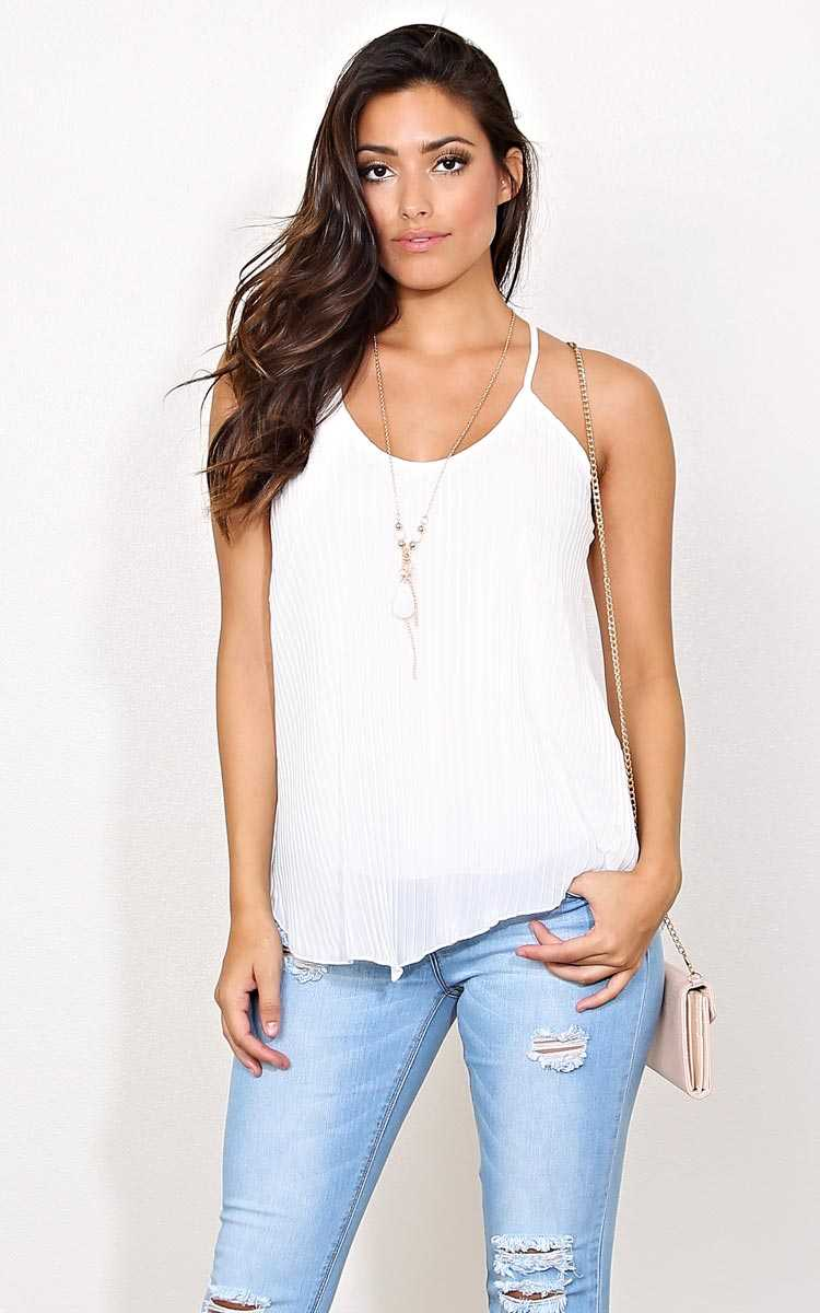Yes Pleats Woven Necklace Tank - - White in Size by Styles For Less
