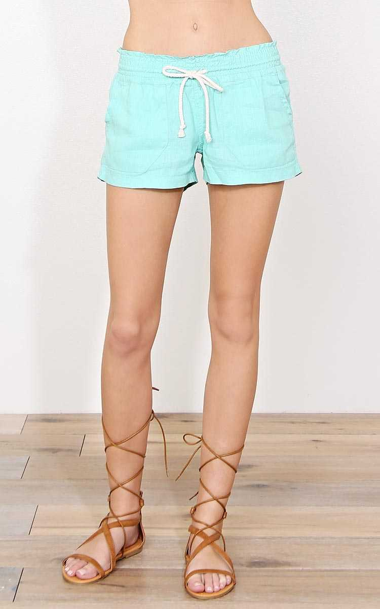 Aqua Cape Cod Linen Shorts - - Aqua in Size by Styles For Less