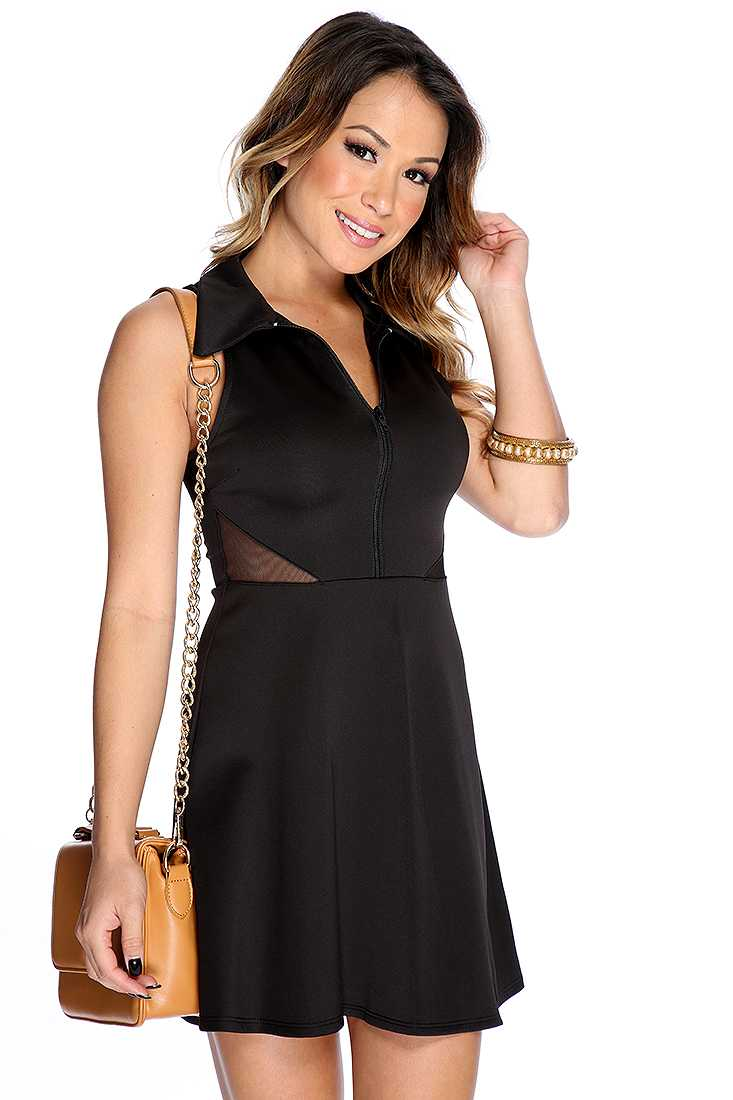 Sexy Black Sleeveless Mesh Cut Out Zipper Accent Casual Dress