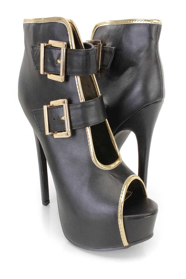 Black Buckle Accents Platform Booties Faux Leather