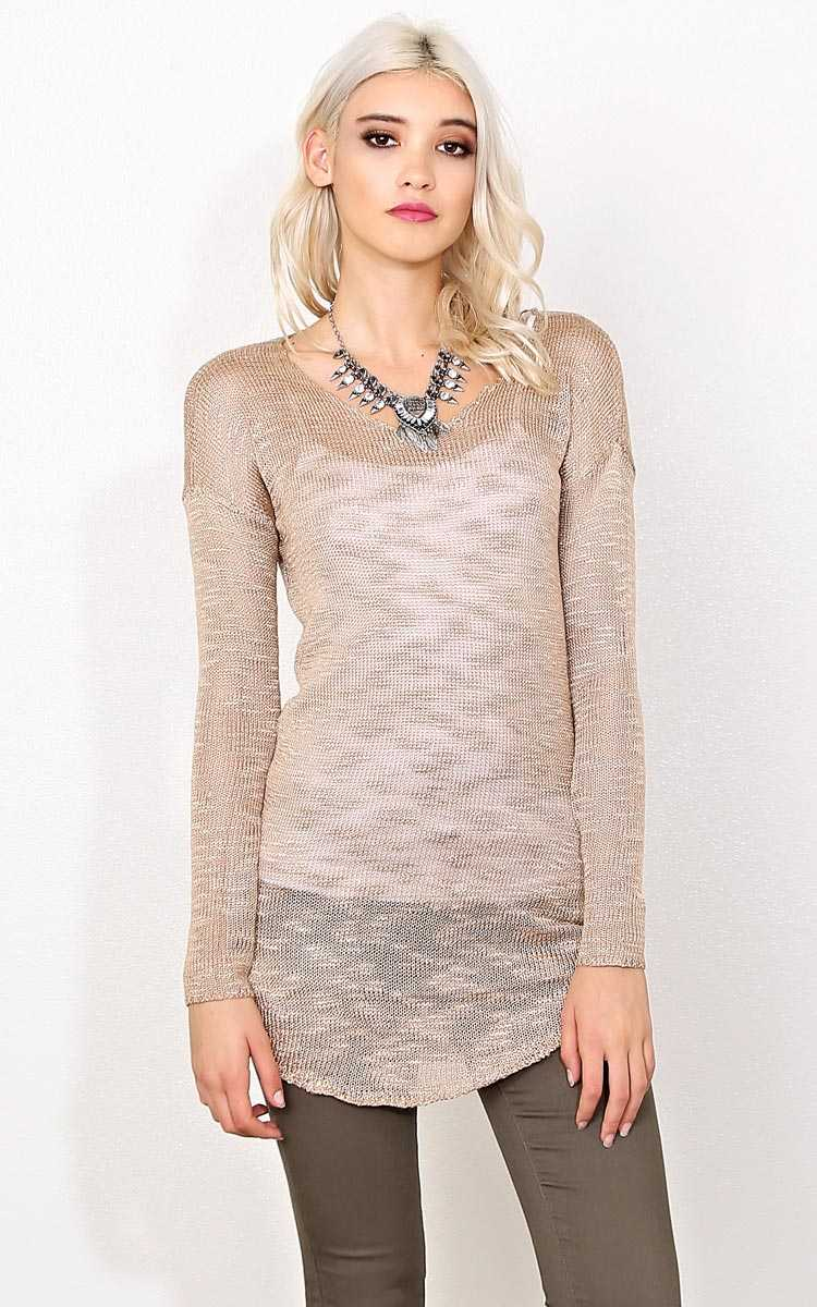 Taupe Nubby Slub Knit Sweater - XLGE - Taupe in Size X-Large by Styles For Less