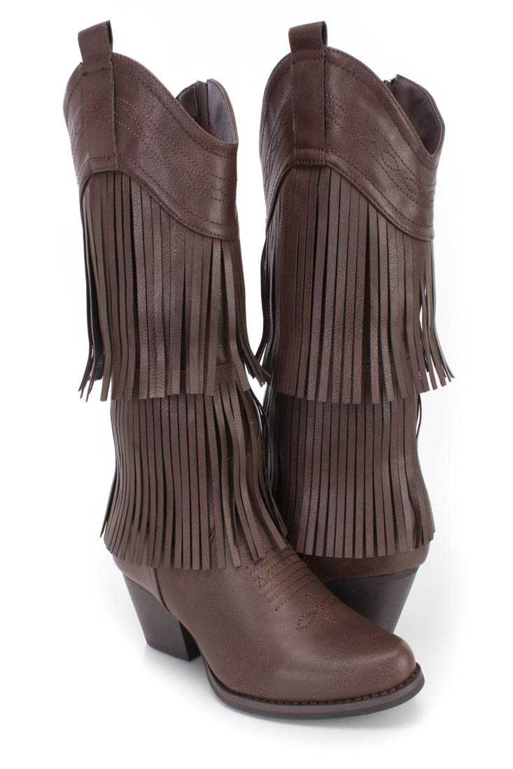 Dark Brown Stitched Fringe Western Boots Faux Leather