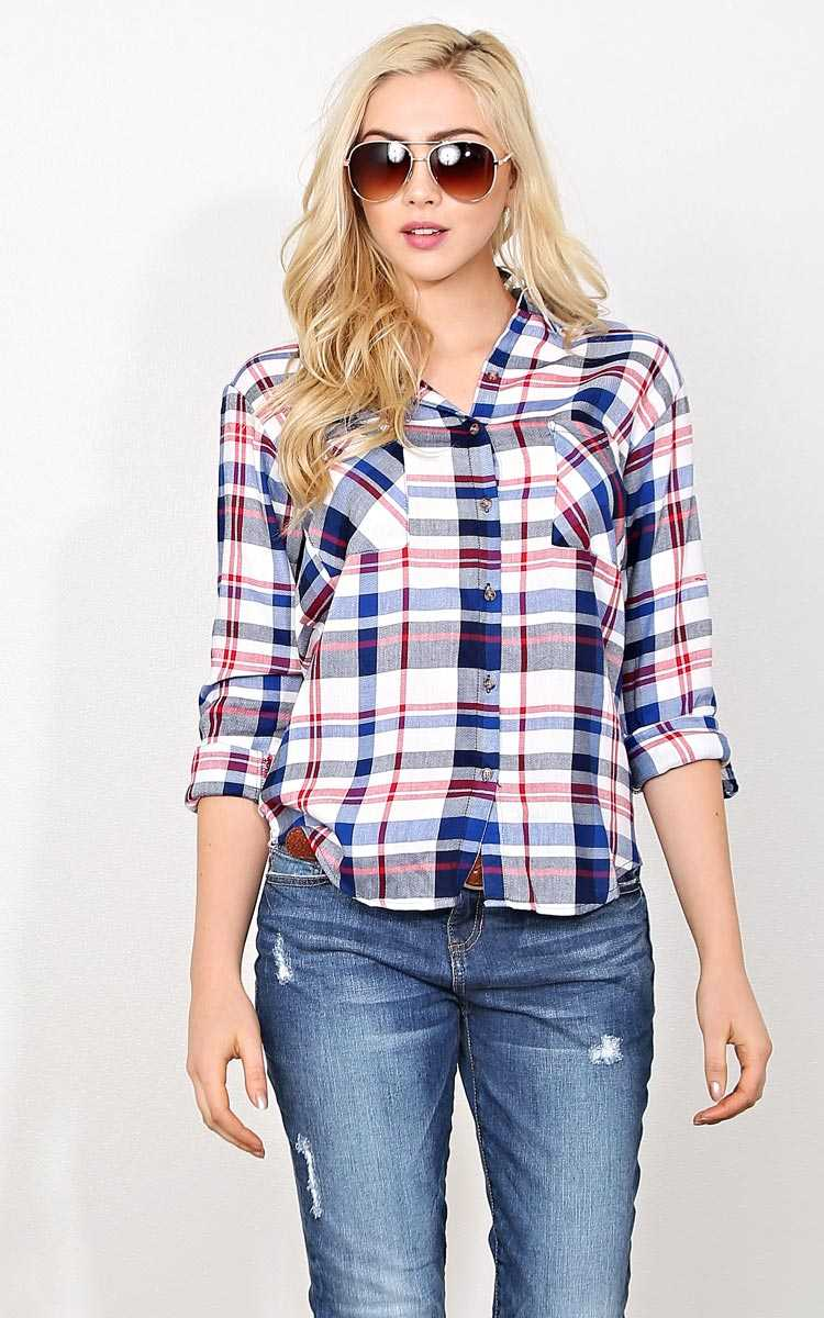 Cori Woven Plaid Top - - Red Combo in Size by Styles For Less