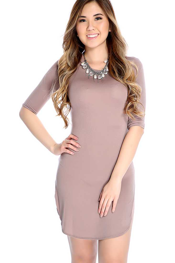 Mocha Quarter Sleeve Side Slit Casual Bodycon Dress
