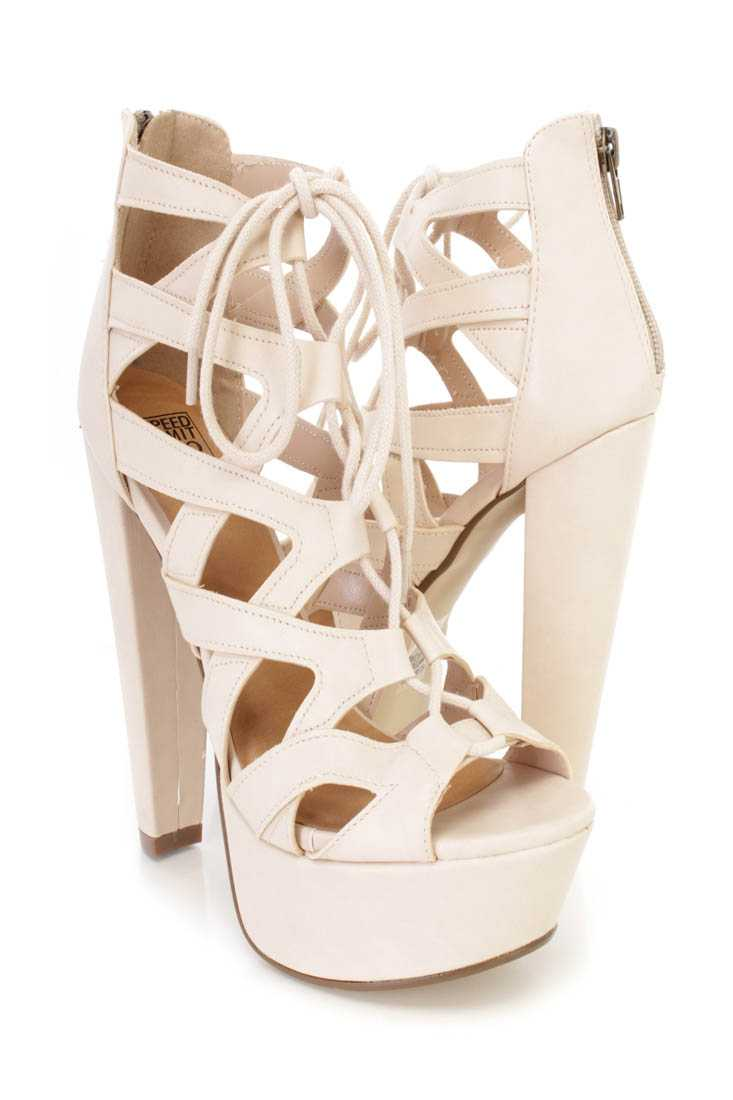 Beige Cross Strappy Lace Up Chunky High Heels Faux Leather