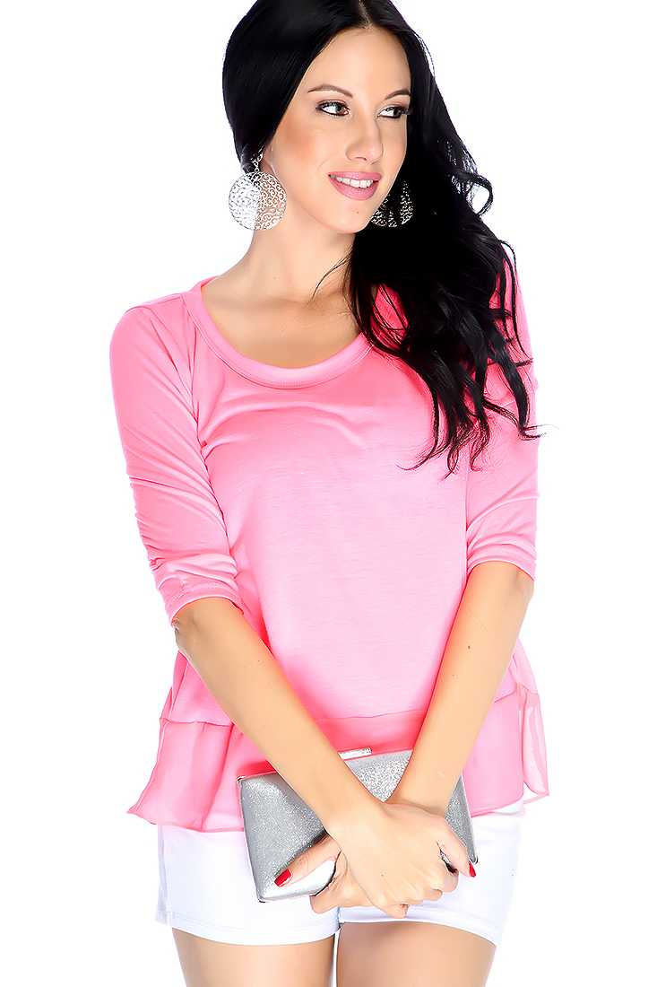 Neon Pink Quarter Sleeve Ruffle High Low Casual Top
